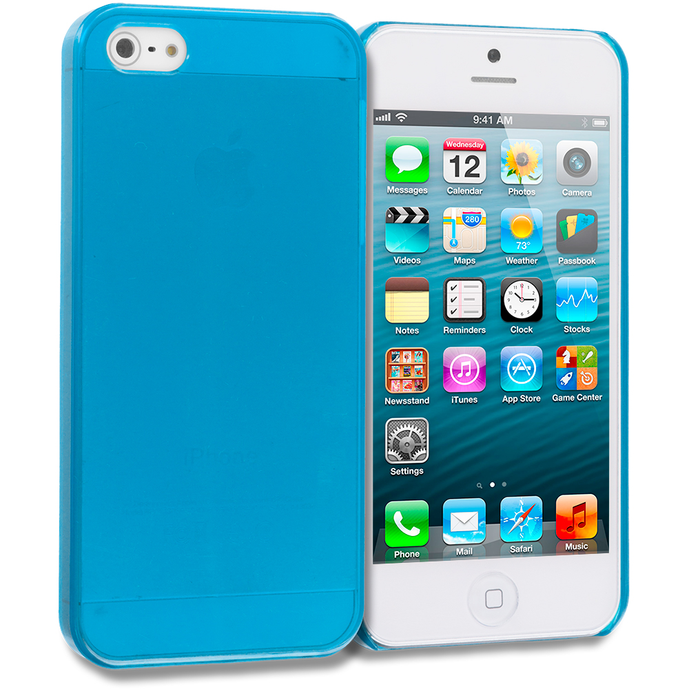 Apple iPhone 5/5S/SE Combo Pack : Baby Blue Crystal Hard Back Cover Case : Color Baby Blue