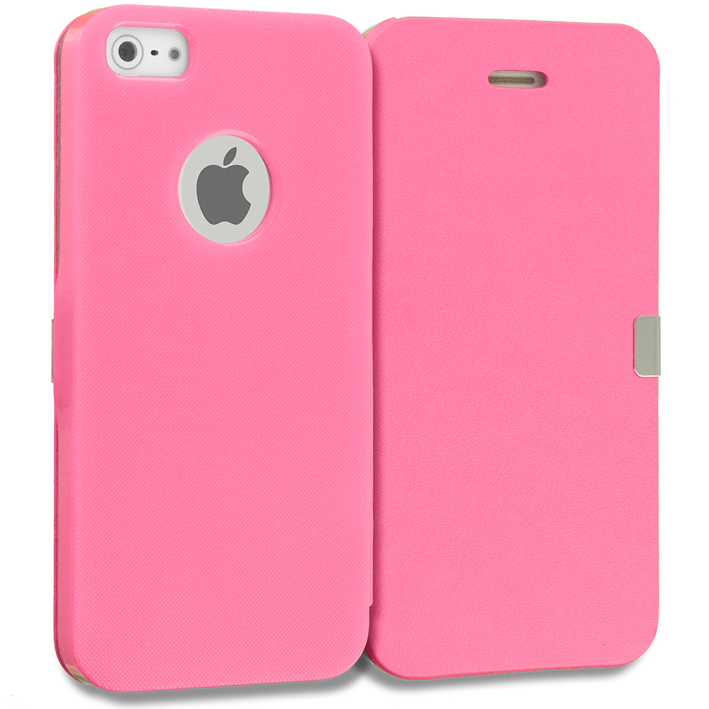 Apple iPhone 5/5S/SE Combo Pack : Baby Blue Smooth Magnetic Wallet Case Cover Pouch : Color Hot Pink Smooth