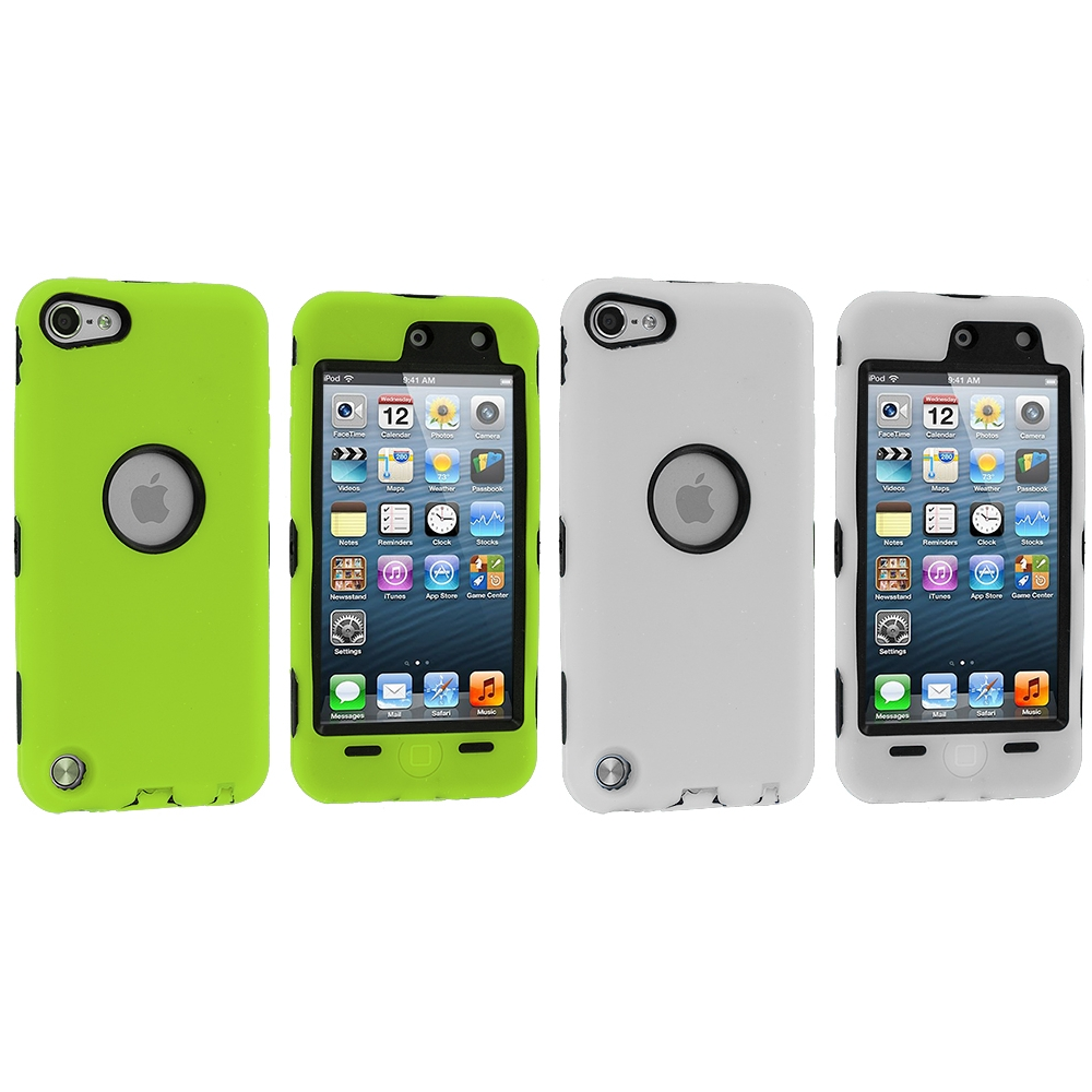 Apple iPod Touch 5th 6th Generation 2 in 1 Combo Bundle Pack - Neon Green White Deluxe Hybrid Deluxe Hard/Soft Case Cover