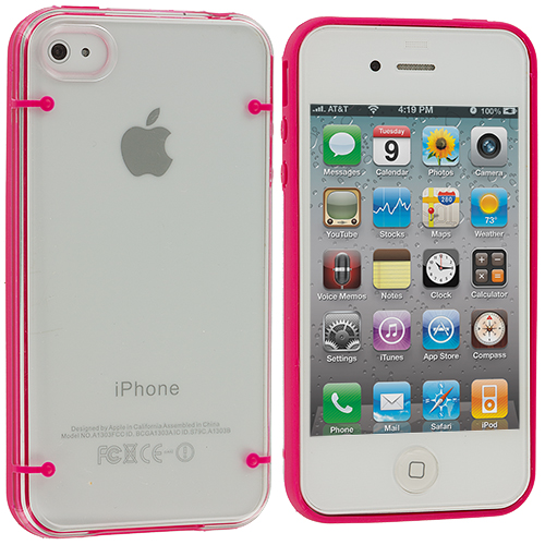 Apple iPhone 4 / 4S Hot Pink Crystal Robot Hard Case Cover