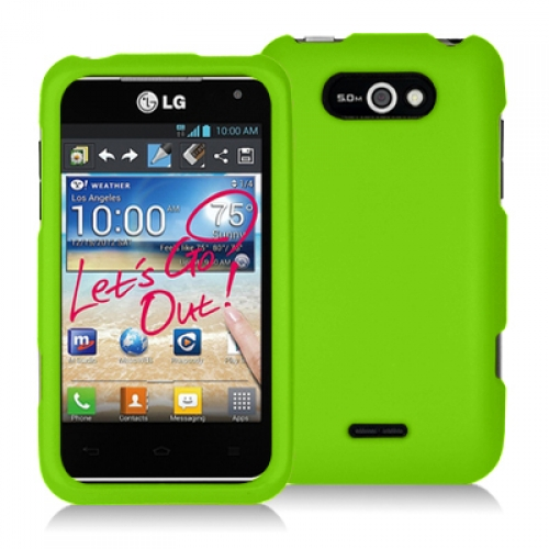 LG Motion MS770 Neon Green Hard Rubberized Case Cover