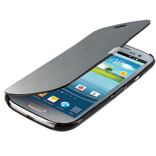 Samsung Galaxy S3 Black Texture Magnetic Wallet Case Cover Pouch