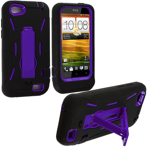 HTC One V Black / Purple Hybrid Heavy Duty Hard/Soft Case Cover with Stand