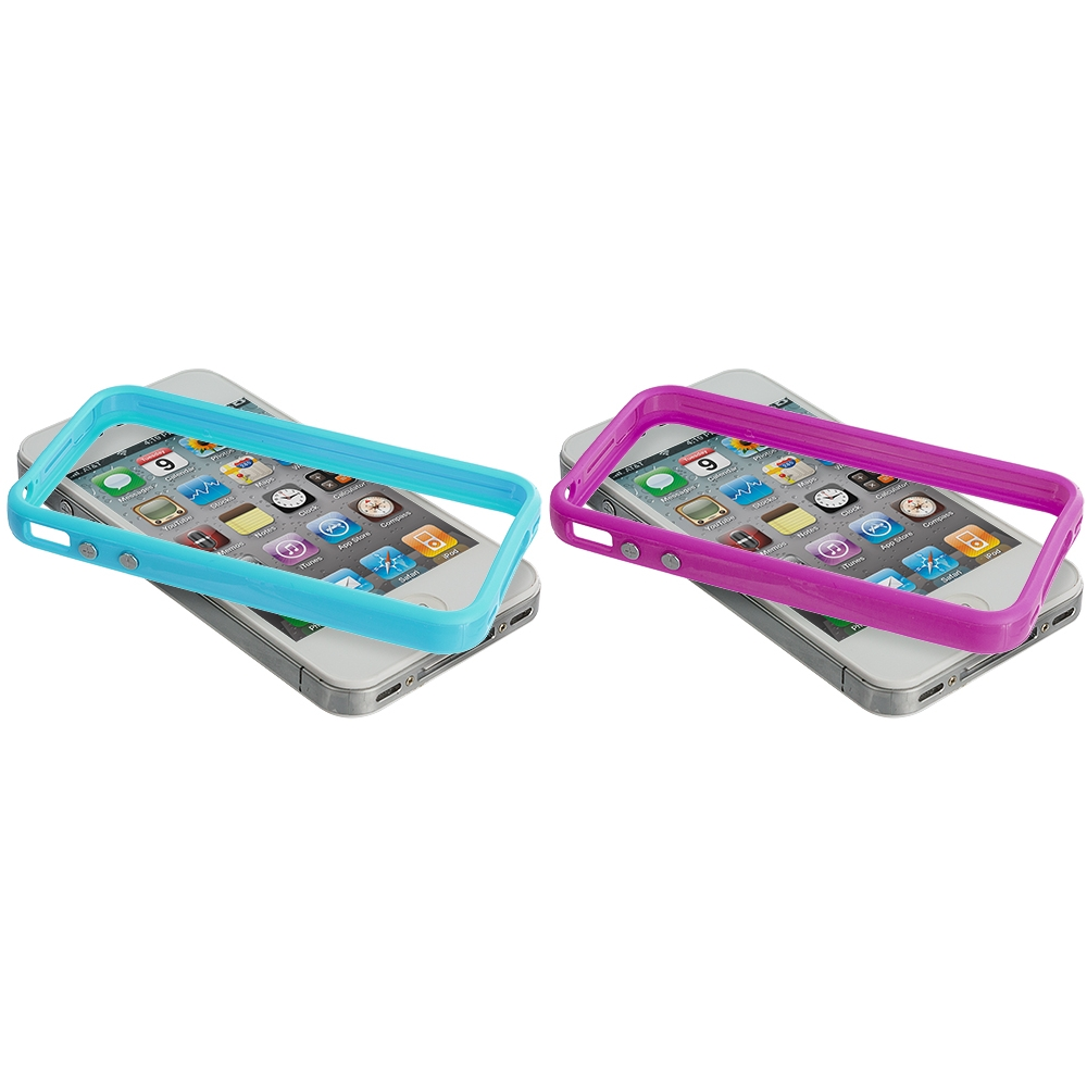 Apple iPhone 4 / 4S 2 in 1 Combo Bundle Pack - Solid Baby Blue Pink TPU Bumper with Metal Buttons