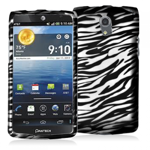 Pantech Discover Black / White Zebra Hard Rubberized Design Case Cover