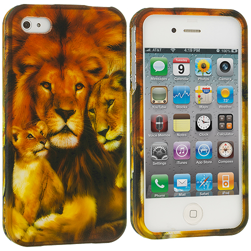 Apple iPhone 4 / 4S Lion Hard Rubberized Design Case Cover