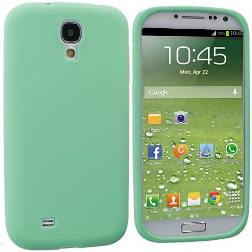 Samsung Galaxy S4 2 in 1 Combo Bundle Pack - White Mint Green Silicone Soft Skin Case Cover : Color Mint Green