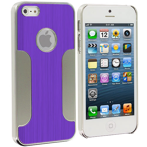 Apple iPhone 5/5S/SE Combo Pack : Blue Brushed Metal Aluminum Metal Hard Case Cover : Color Purple Brushed Metal
