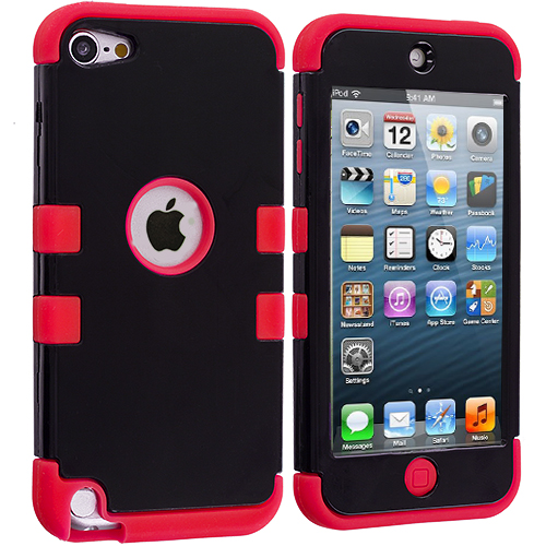 Apple iPod Touch 5th 6th Generation Red / Black Hybrid Tuff Hard/Soft 3-Piece Case Cover