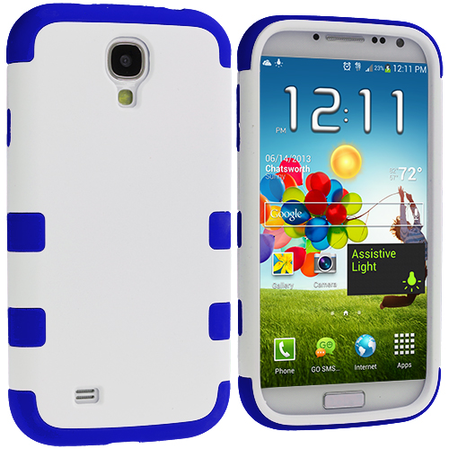 Samsung Galaxy S4 Blue / White Hybrid Tuff Hard/Soft 3-Piece Case Cover