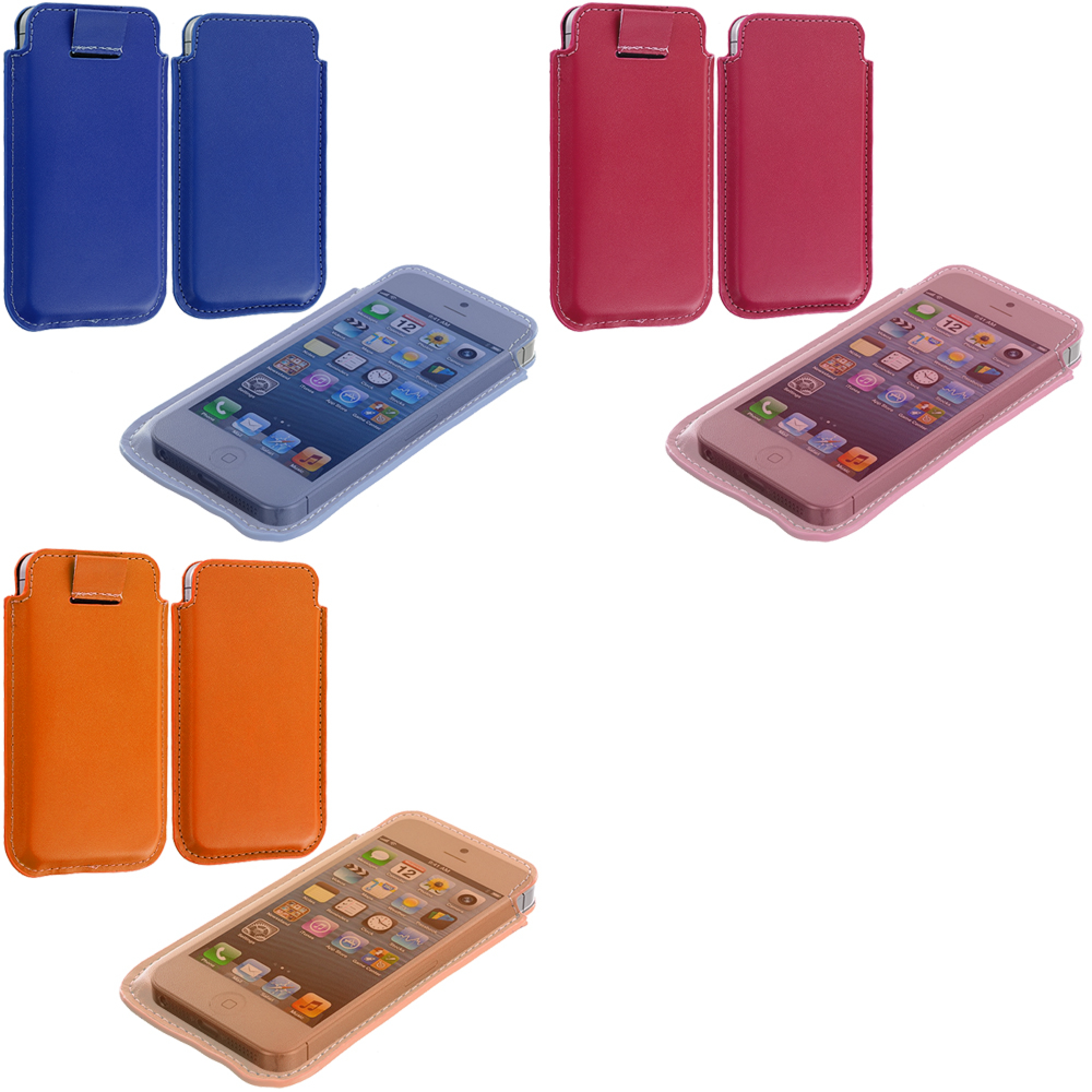 Apple iPhone 5/5S/SE Combo Pack : Blue Sleeve Pouch