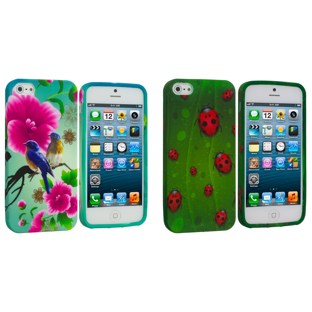 Apple iPhone 5/5S/SE Combo Pack : Blue Bird Pink Flower TPU Design Soft Case Cover