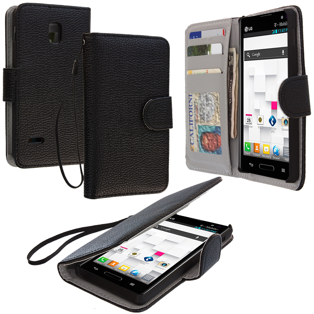 LG Optimus L9 P769 T-Mobile Black Leather Wallet Pouch Case Cover with Slots