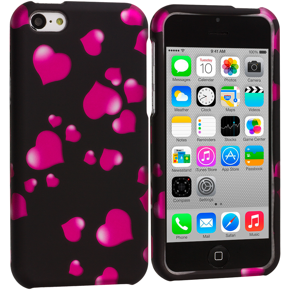 Apple iPhone 5C Raining Hearts Hard Rubberized Design Case Cover