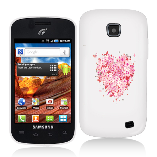 Samsung Proclaim S720C Hearts Full of Flowers on White Hard Rubberized Design Case Cover