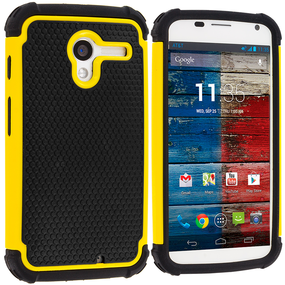 Motorola Moto X Black / Yellow Hybrid Rugged Hard/Soft Case Cover