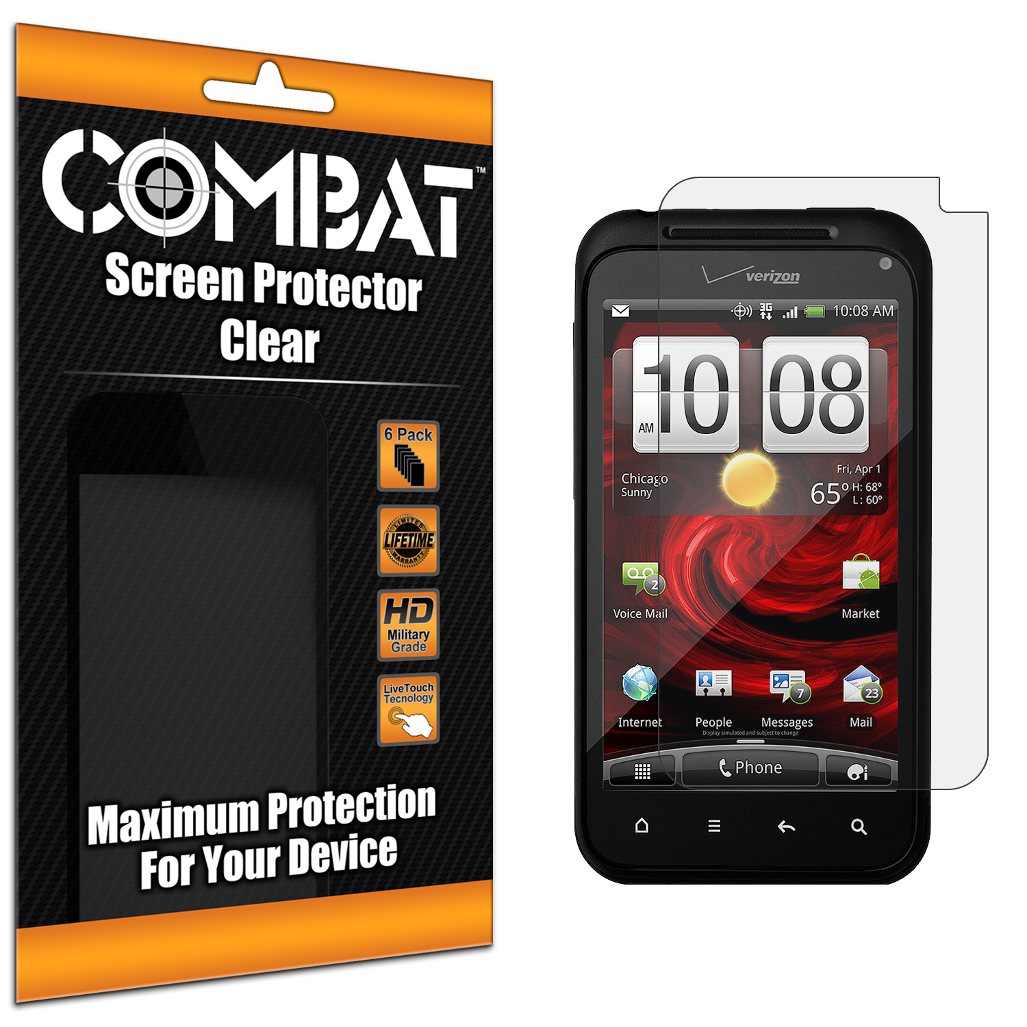 HTC Droid Incredible 2 6350 Combat 6 Pack HD Clear Screen Protector