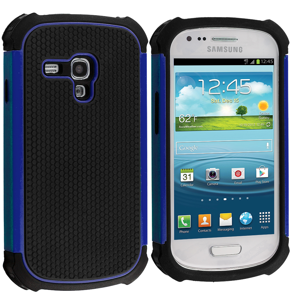 Samsung Galaxy S3 Mini Black / Blue Hybrid Rugged Hard/Soft Case Cover