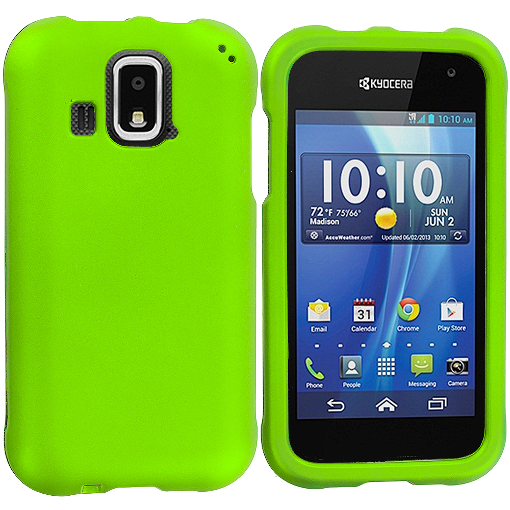 Kyocera Hydro XTRM Neon Green Hard Rubberized Case Cover
