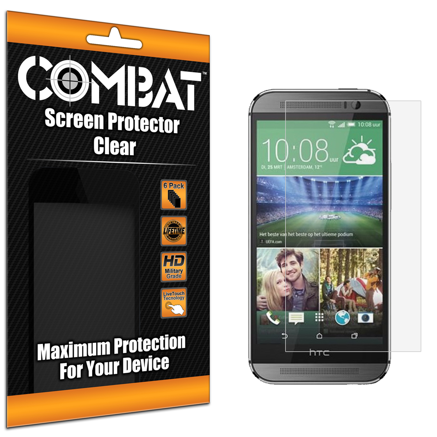 HTC One M8 Combat 6 Pack HD Clear Screen Protector
