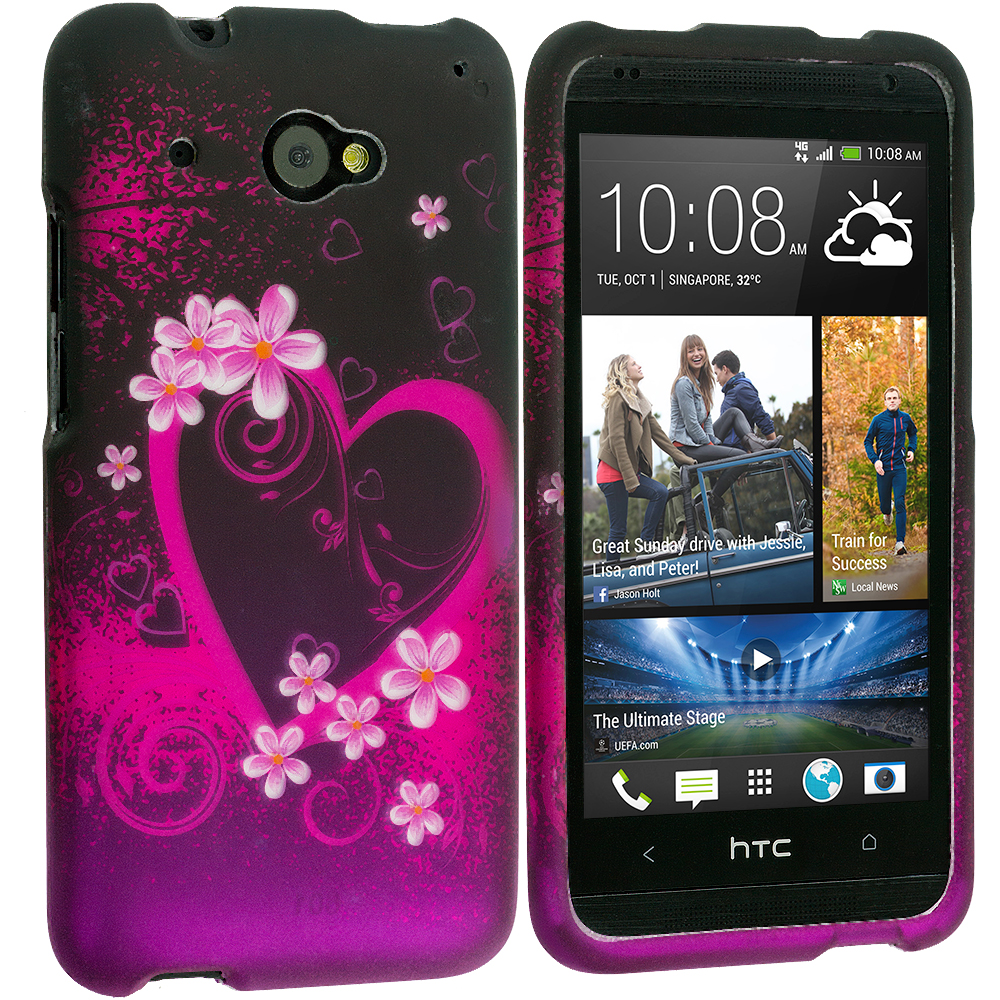 HTC Desire 601 Purple Love 2D Hard Rubberized Design Case Cover
