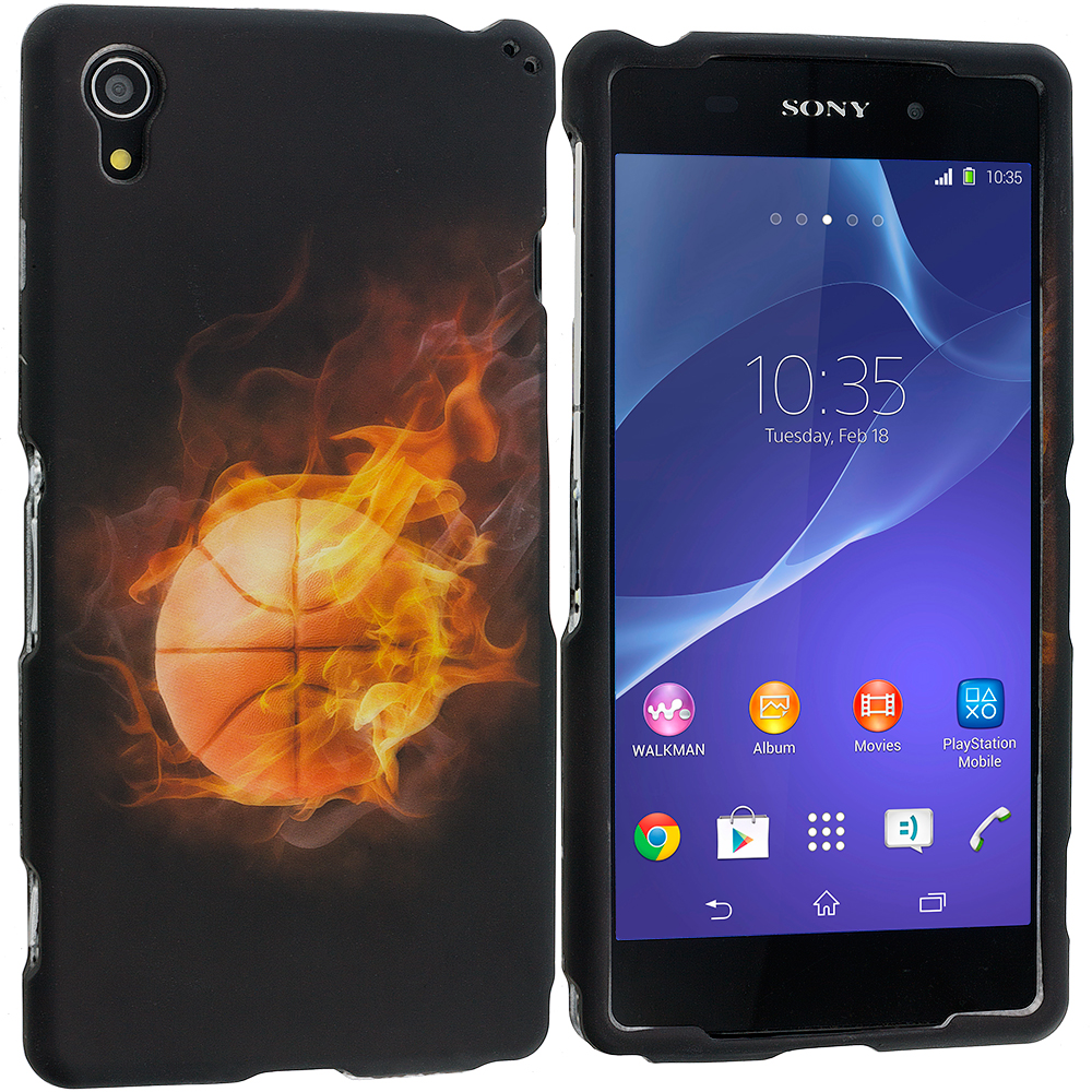 Sony Xperia Z2 Flaming Basketball 2D Hard Rubberized Design Case Cover