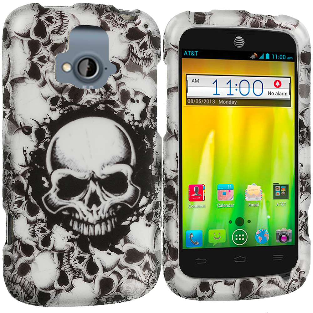 ZTE Radiant Black White Skulls 2D Hard Rubberized Design Case Cover