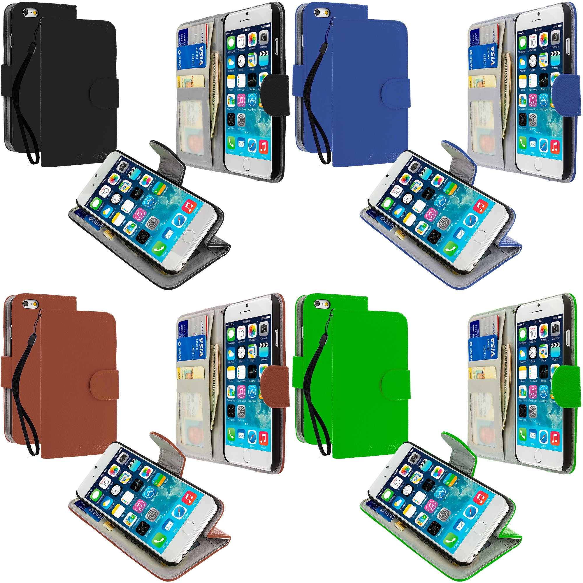 Apple iPhone 6 6S (4.7) 4 in 1 Combo Bundle Pack - Leather Wallet Pouch Case Cover with Slots