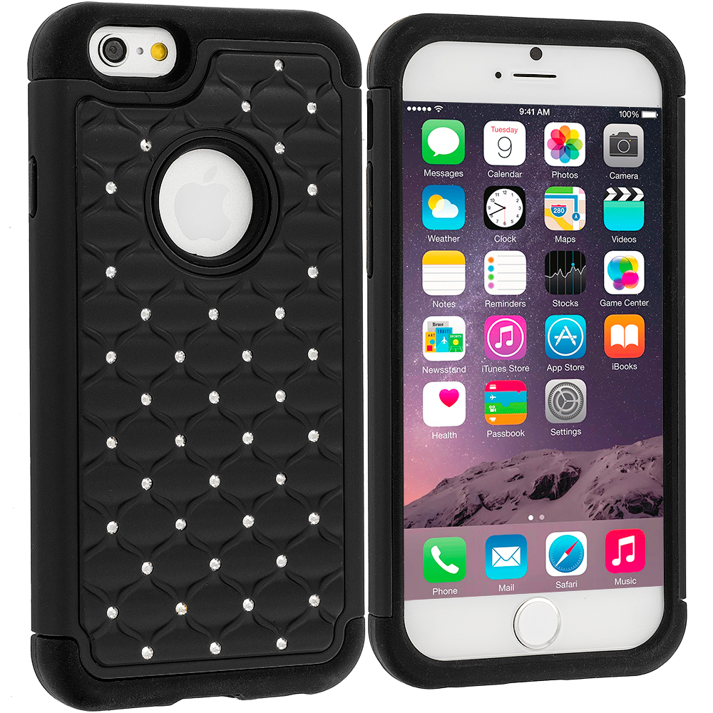 Apple iPhone 6 6S (4.7) Black Hard Rubberized Diamond Case Cover