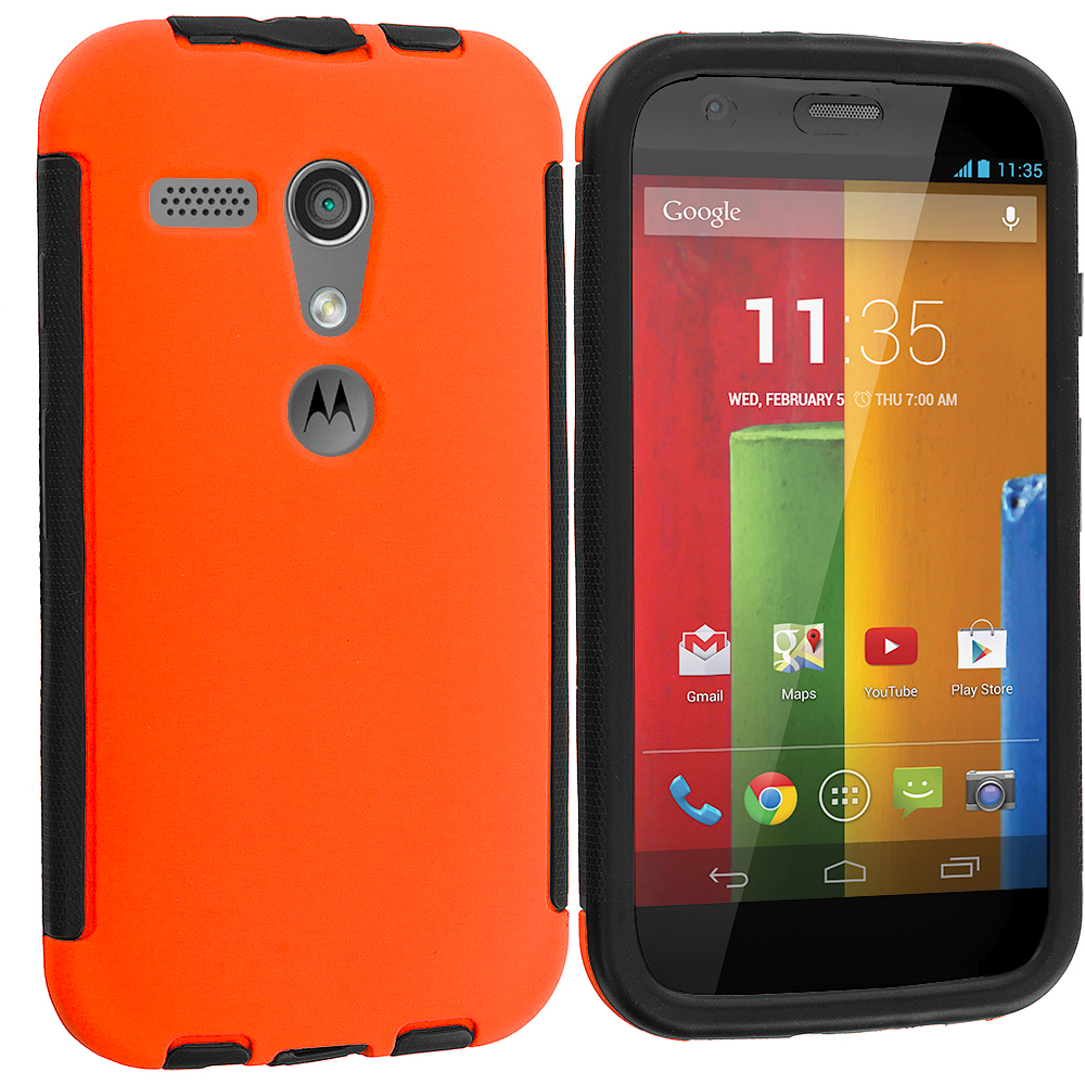 Motorola Moto G 2 in 1 Combo Bundle Pack - Orange / Red Hybrid Hard TPU Shockproof Case Cover With Built in Screen Protector : Color Black / Orange