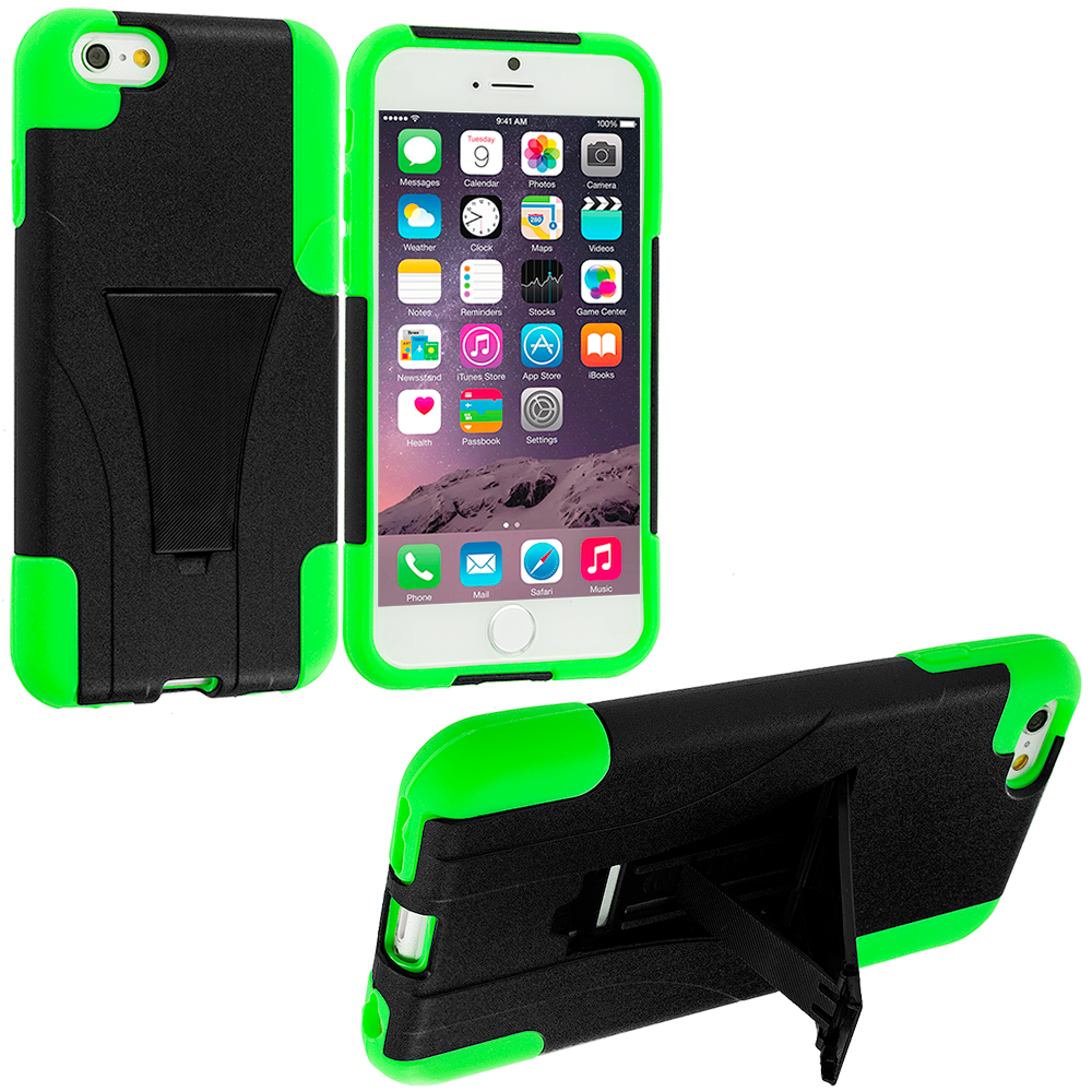Apple iPhone 6 Plus 6S Plus (5.5) Black / Neon Green Hybrid Hard Soft Shockproof Case Cover with Kickstand
