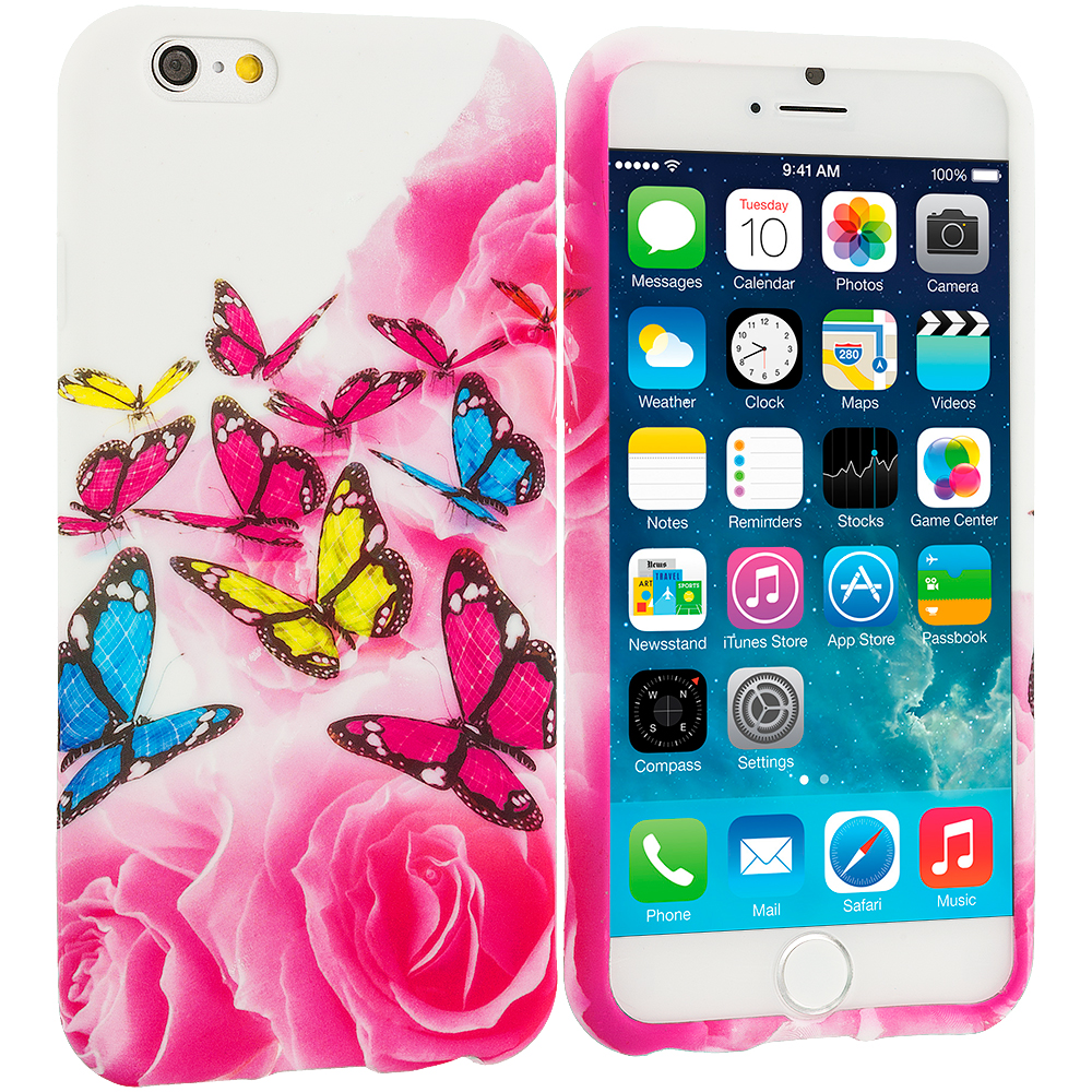 Apple iPhone 6 Plus 6S Plus (5.5) Pink Colorful Butterfly TPU Design Soft Rubber Case Cover