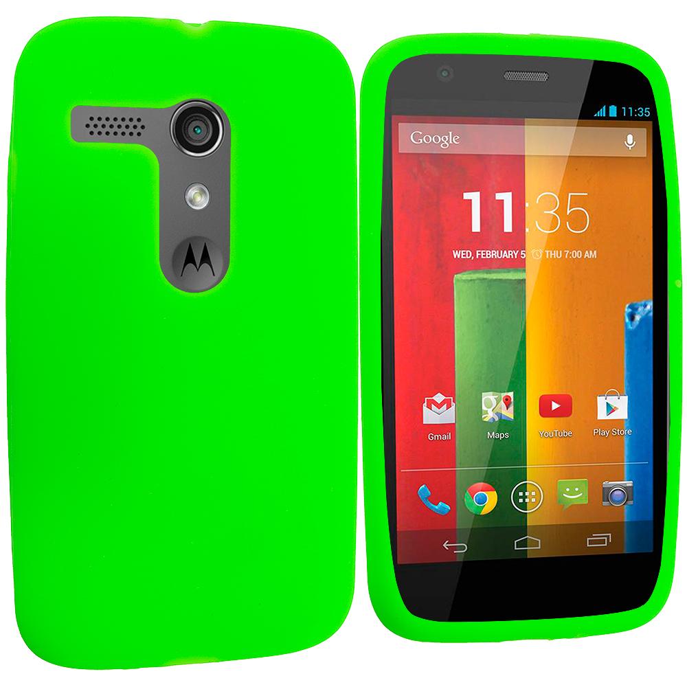 Motorola Moto G Neon Green Silicone Soft Skin Rubber Case Cover