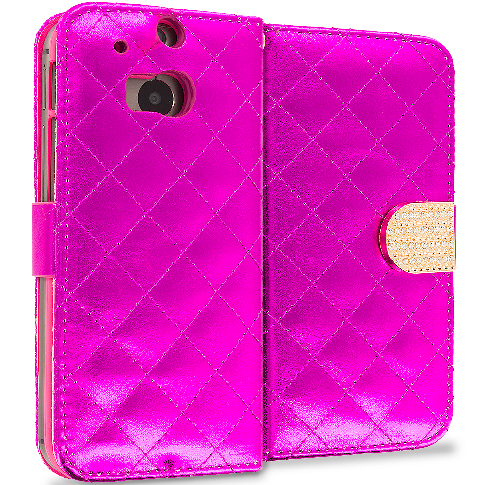 HTC One M8 Hot Pink Luxury Wallet Diamond Design Case Cover With Slots