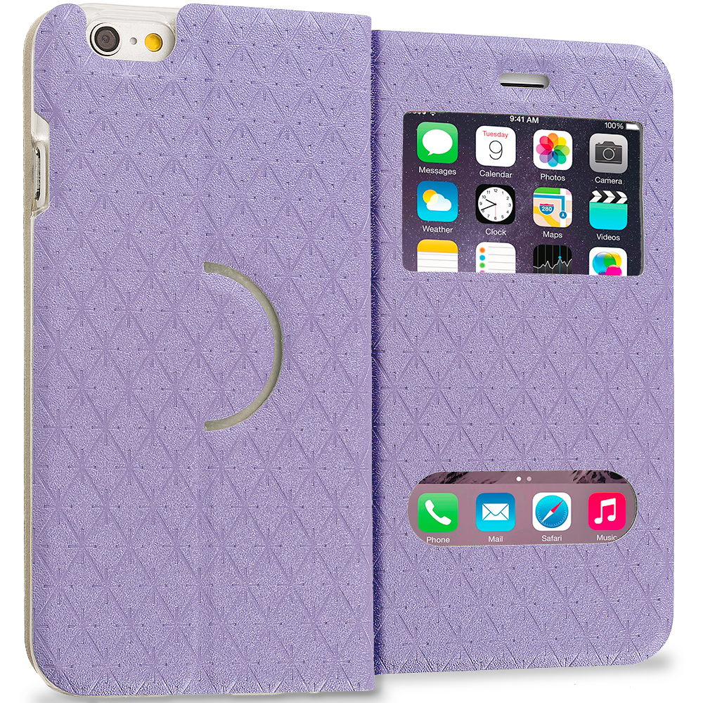Apple iPhone 6 6S (4.7) Purple Slim Hard Wallet Flip Case Cover With Double Window