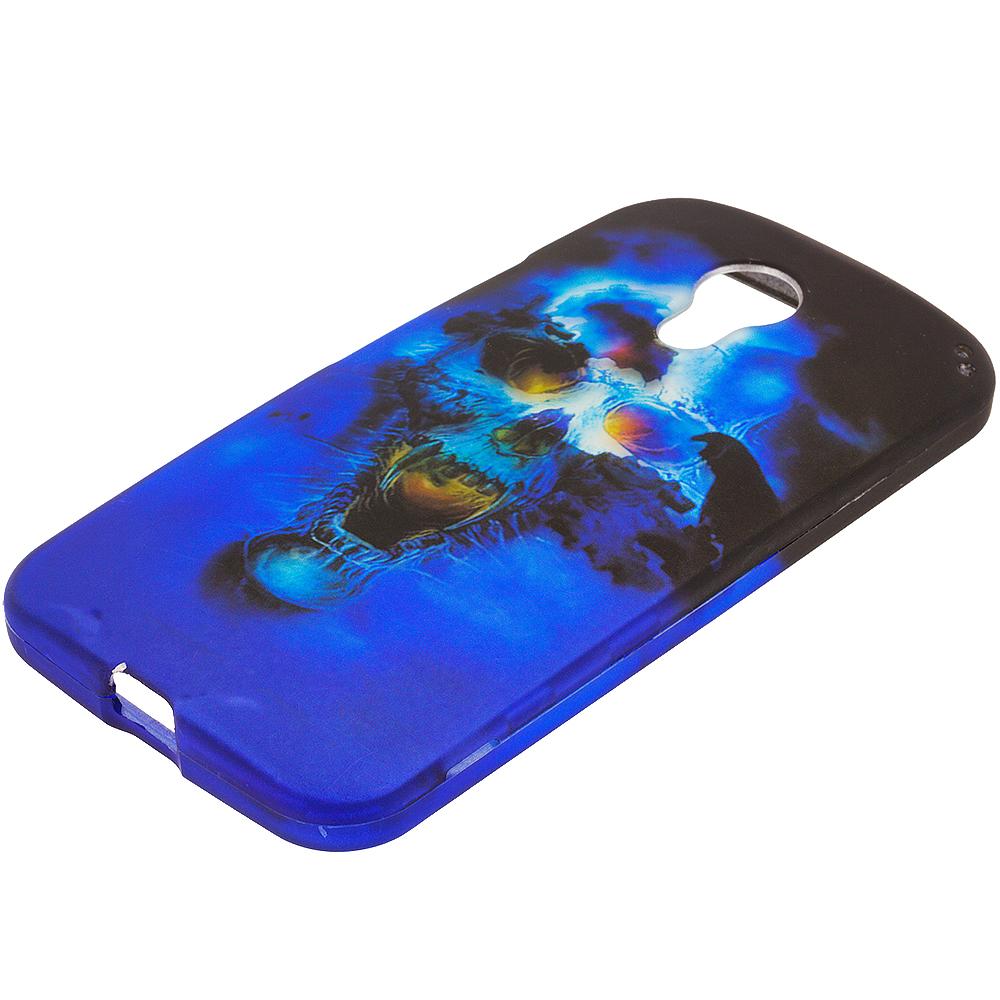 Motorola Moto G 2nd Gen 2014 Blue Skulls 2D Hard Rubberized Design Case Cover