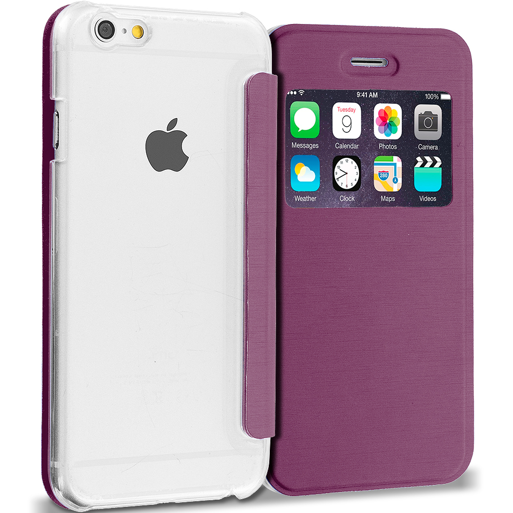 Apple iPhone 6 6S (4.7) Purple Slim Hard Wallet Flip Case Cover Clear Back With Window