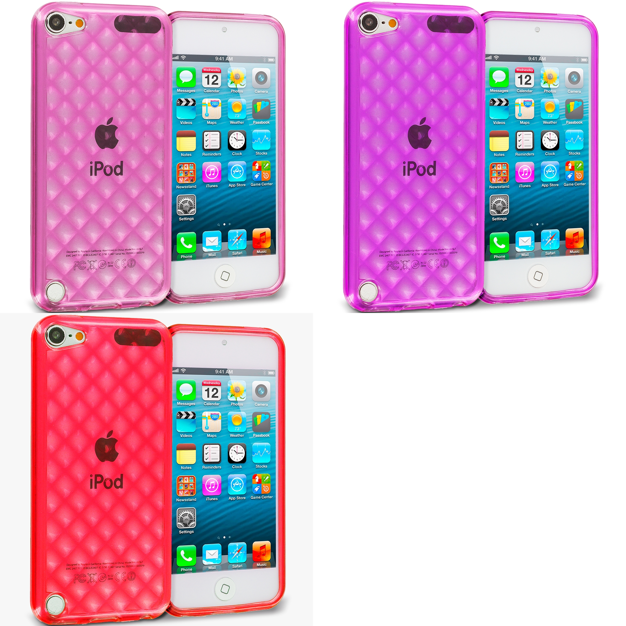 Apple iPod Touch 5th 6th Generation 3 in 1 Combo Bundle Pack - Pink Purple Red Argyle TPU Rubber Skin Case Cover
