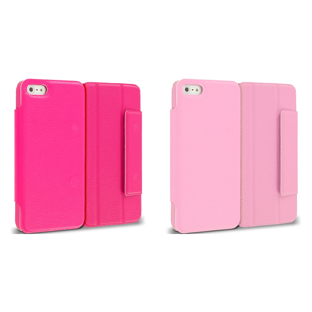 Apple iPhone 5/5S/SE Combo Pack : Hot Pink Tri-Fold Leather Wallet Case Cover Pouch