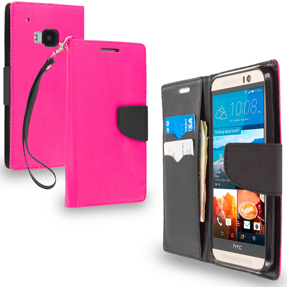 HTC One M9 Hot Pink / Black Leather Flip Wallet Pouch TPU Case Cover with ID Card Slots