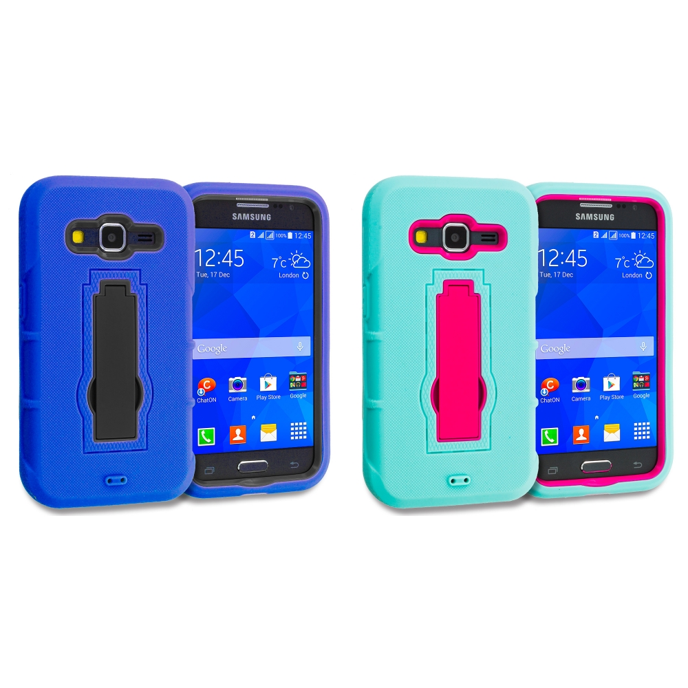 Samsung Galaxy Prevail LTE Core Prime G360P Combo Pack : Blue / Black Hybrid Heavy Duty Hard Soft Case Cover with Kickstand