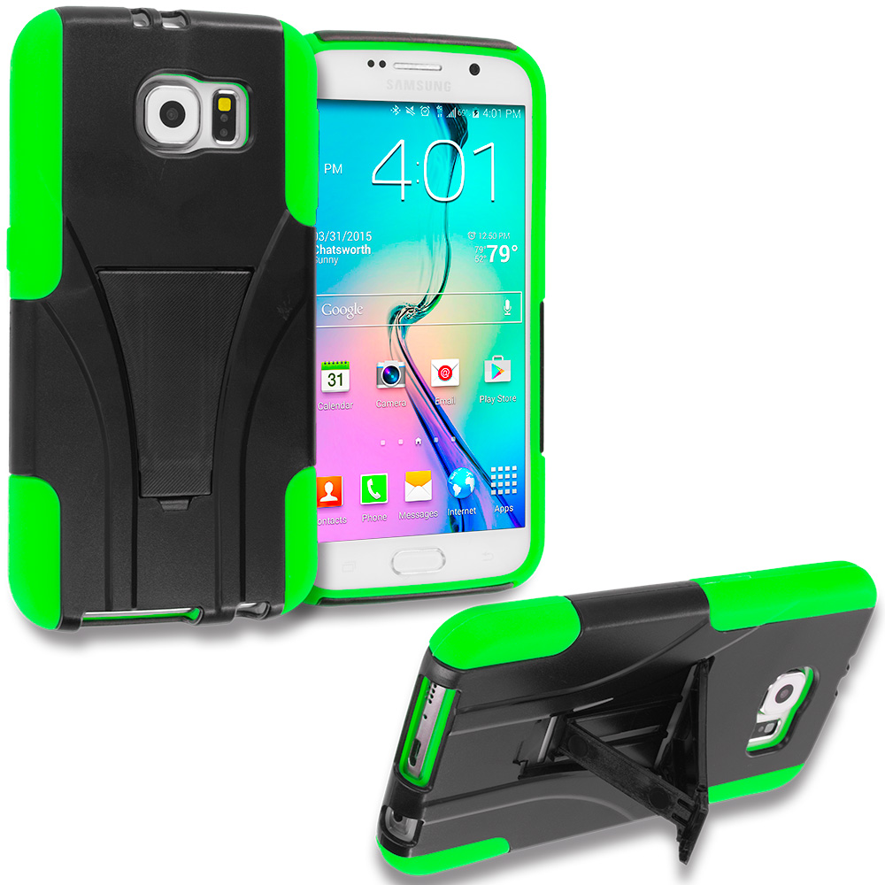 Samsung Galaxy S6 Black / Neon Green Hybrid Hard Soft Shockproof Case Cover with Kickstand
