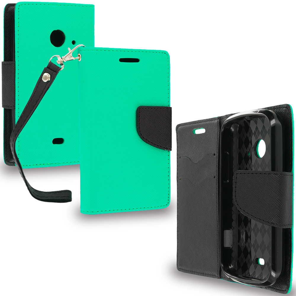 ZTE Zinger Prelude 2 Z667 Mint Green / Black Leather Flip Wallet Pouch TPU Case Cover with ID Card Slots