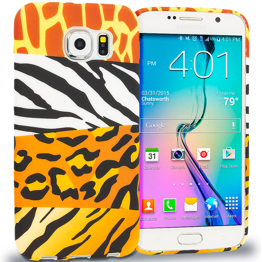 Samsung Galaxy S6 Combo Pack : Mix Animal Skin TPU Design Soft Rubber Case Cover : Color Mix Animal Skin