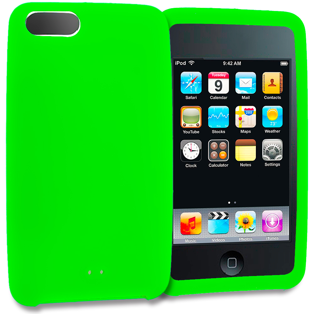 Apple iPod Touch 3rd 2nd Generation Neon Green Silicone Soft Skin Rubber Case Cover
