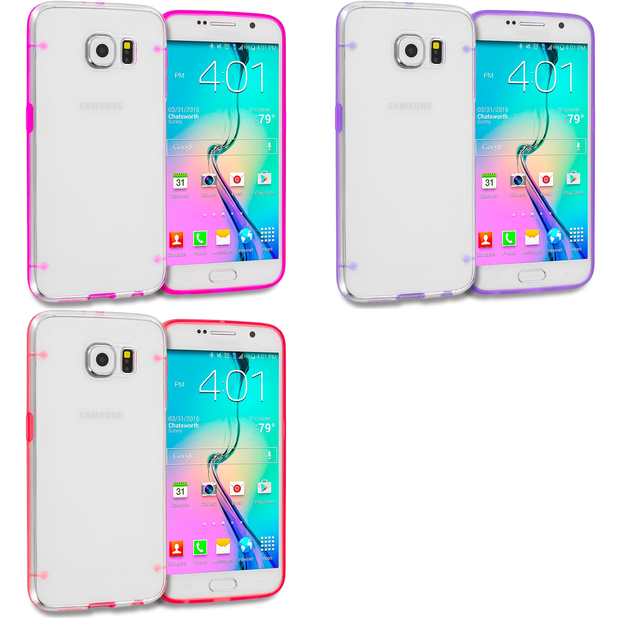 Samsung Galaxy S6 Combo Pack : Hot Pink Crystal Robot Hard TPU Case Cover