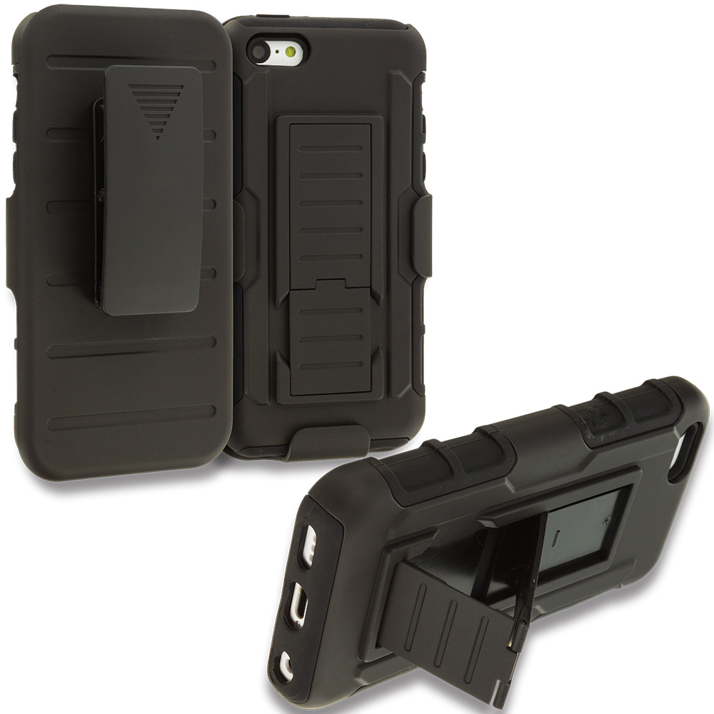 Apple iPhone 5C Black Hybrid Rugged Robot Armor Heavy Duty Case Cover with Belt Clip Holster