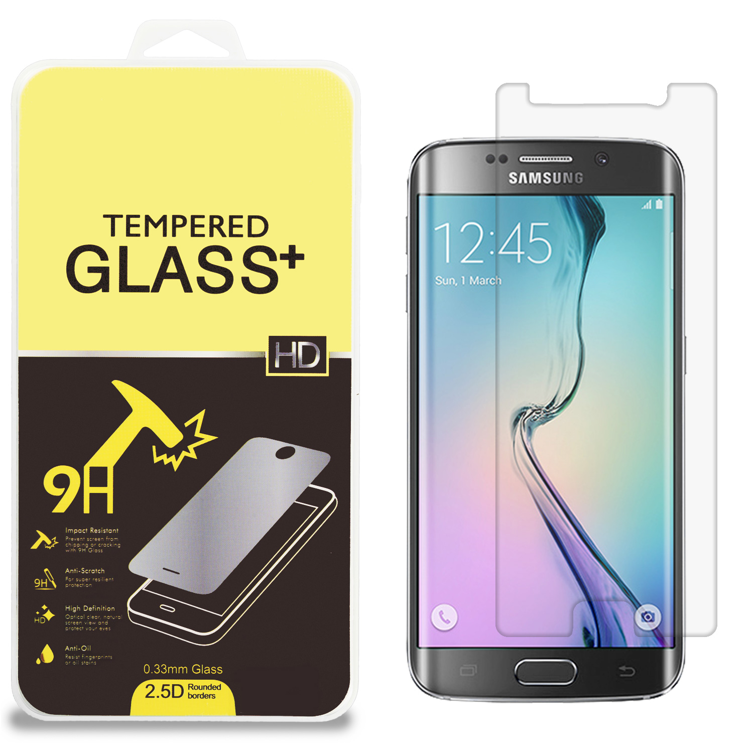 Samsung Galaxy S6 Edge (Does Not Cover Side Edge) Clear Tempered Glass High Quality 0.33mm LCD Screen Protector
