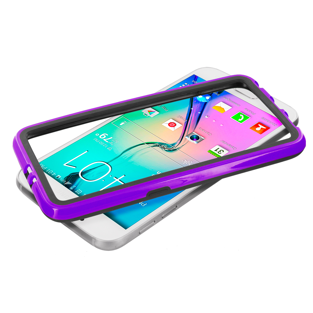 Samsung Galaxy S6 Black / Purple TPU Bumper Frame with Metal Buttons