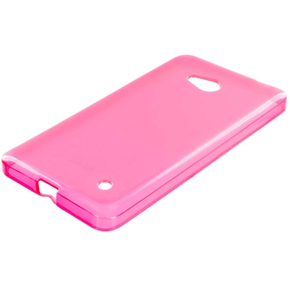 Microsoft Lumia 640 2 in 1 Combo Bundle Pack - Clear TPU Rubber Skin Case Cover : Color Hot Pink